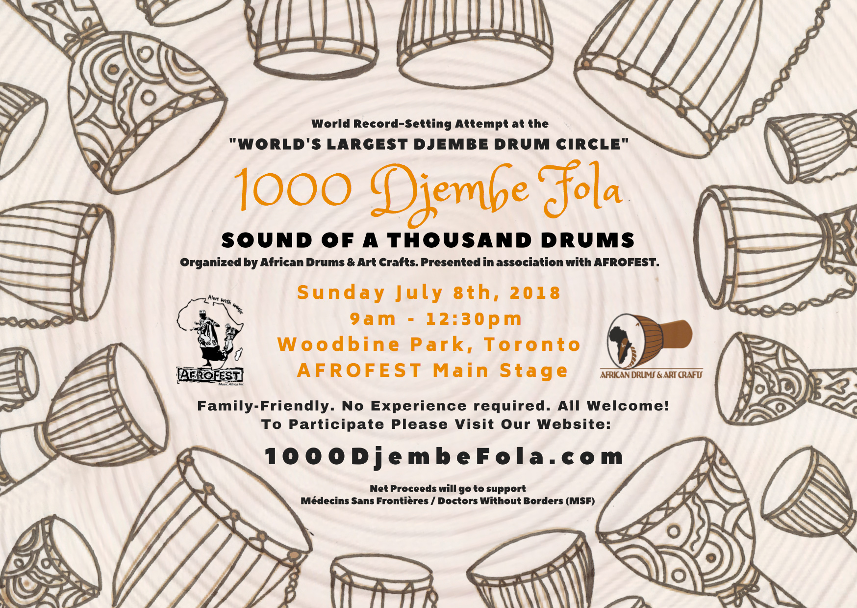 1000 Djembe Fola Poster African Drums & Art Crafts AFROFEST 2018 Largest Drum Circle World Record Attempt